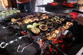 Fried zucchini, eggplant, meat — Stock Photo