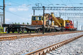 Train with special track equipment at repairs — Stock Photo