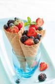 Fresh berries in  waffle — Stock Photo