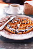 Waffle with chocolate — Stock Photo