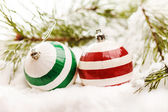 Christmas balls with snow — Stockfoto