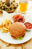 Fastfood with beer — Stock Photo