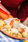 Chef making Tortillas — Stok fotoğraf
