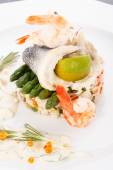 Fish with rice — Stock Photo