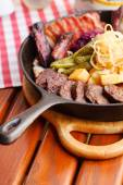 Pan with grilled meat — Stock Photo