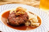 Beef cutlet with mashed potatoes — Stock Photo
