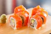 Sushi on  wood board — Stock Photo