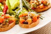 Bruschetta with vegetables — Stock Photo