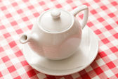 Tea in the white teapot — Foto Stock