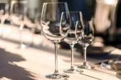 Glases on table in restaurant — Stock Photo
