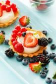 Berries tarts on plate — Stock Photo
