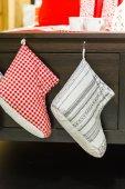Christmas stockings closeup — Stockfoto