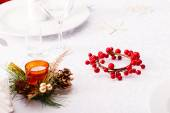 Christmas table with decorations — Stock Photo
