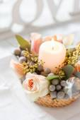 Nice flowers and candle — Stock Photo