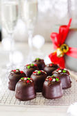 Christmas chocolate dessert — Stock Photo