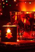 Christmas tea and candle — Stock Photo