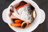 Raw salmon for fish soup — Stock Photo
