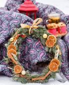 Christmas still life with wreath — Stock Photo