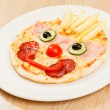 Pizza for kids with funny face — Stock Photo #61839861