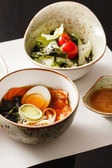 Japanese food in bowls — Stock Photo
