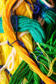 Yellow and green threads — Stock Photo