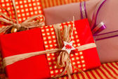 Red Christmas presents — Stock Photo
