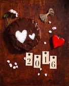 情人节的巧克力蛋糕 — 图库照片