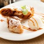 Apple strudel with ice cream — Stock Photo #62554051