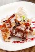 Belgian waffle with whipped cream — Stock Photo