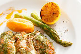 Roasted fish with pumpkin — Stock Photo