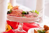 Table setting with food on dish — Stock Photo