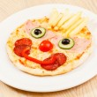 Pizza for kids with funny face — Stock Photo #62736355