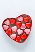 Heart box with heart candies — Stock Photo