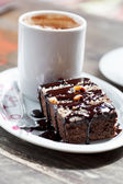 Coffee with brownie — Stock Photo
