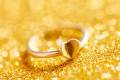 Romantic ring with heart — Stock Photo