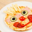 Pizza for kids with funny face — Stock Photo #63520737