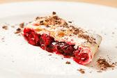 Cherry strudel with ice cream — Stock Photo