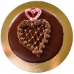 Chocolate heart shape cake — Stock Photo #63612213