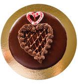 Chocolate heart shape cake — Stock Photo