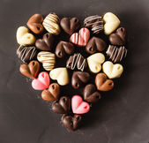 Chocolate candy hearts — Foto Stock