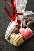 Chocolate heart candies — Stock Photo