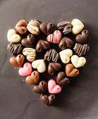 Cuori di cioccolato caramelle — Foto Stock