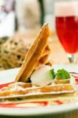 Belgian waffles on plate — Foto de Stock
