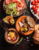 Spanish dinner on table — Stock Photo