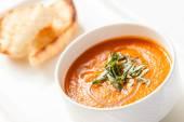 Tomato soup in bowl — Stock Photo