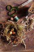 Golden eggs in the nest — Stock Photo