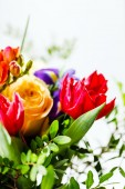 Bunch of tulip and rose flowers — Stock Photo