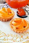 Apricot tart on table — Stock Photo