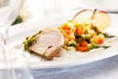 Foie gras pate with salad — Stock Photo