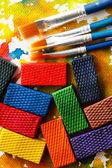 Aquarell-Farben mit Pinsel — Stockfoto